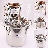 12 L Litro DIY Nuevo CASA Alambique Destilador Cobre Destilación Enfriador Caldera Termómetro Vino Alcohol Agua Esencial Aceite Preparación Kit