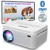 BIGASUO Bluetooth Mini Projector with DVD Player 4000 Lumens, Home Cinema Projector with Projection Screen Support 1080P Full HD, Compatible with iPhone, iPad, Laptop, TV Box, HDMI, VGA, SD, USB, AV