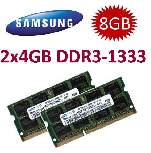 Samsung Mihatsch & Diewald - Módulo de memoria para ordenador portátil Lenovo ThinkPad L412, L420, L512, L520, T410, T410i, T410s, T510, T510i, T520, T520i, W510, W520, W701, W701ds, X201, X201t, X220 y X220i (2 unidades de 4 GB, 204 pines, DDR3-1333, 1333 MHz, PC3-10600, CL9)