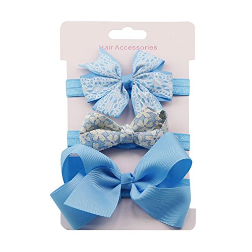 DZT1968 3Pcs Kids aby Girl Elastic Floral Headbands Newborn Infant Toddler Hairbands and Bows Child Hair Accessories Hairband Set
