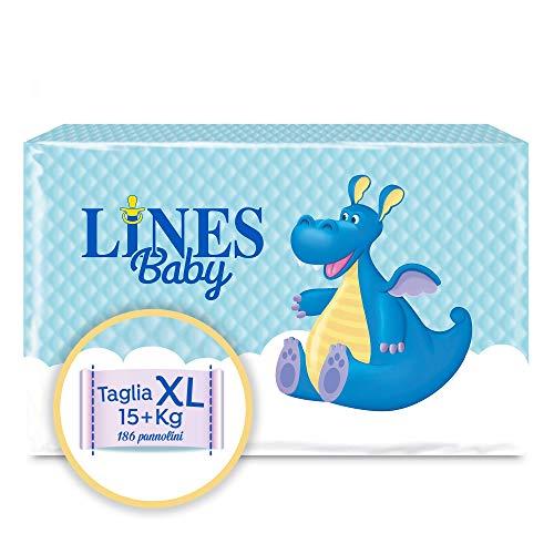 Lines Baby Extra Large, 186 Pannolini, Taglia 5-6 (15+ Kg),Confezione Scorta mensile
