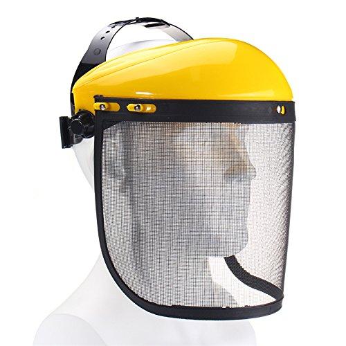 GOZAR Gran Metal De Acero Visor De Malla De Seguridad Sombrero Casco Para Motosierra Desbrozadora Mascarilla Completa Protector Facial