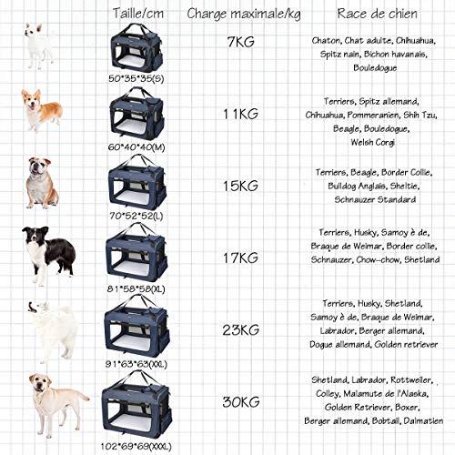 LEMAIJIAJU Caisse de Transport Chat Sac de Transport Pliable Cage de Transport pour Chien et Chat Animal Tissu Oxford Bleu Foncé - XXXL 102c... 10