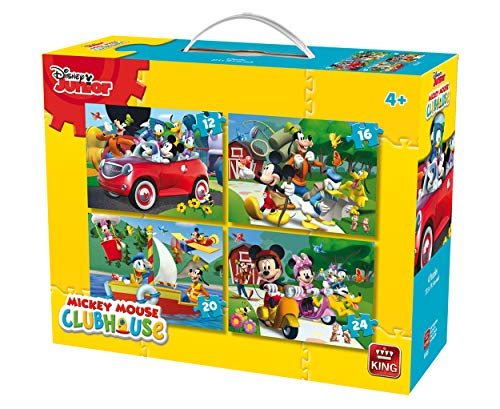 King 5505 Disney 4-in-1 puzzle Mickey Mouse (12/16/20/pezzi) – 4 puzzle in una valigia