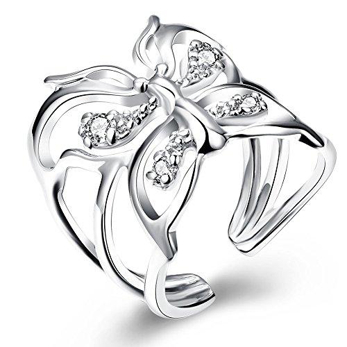 Style Objetivo Mujer Anillo Plata Mariposa con pequeños cristales tamaño ajustable Reclamo nuevo 2179