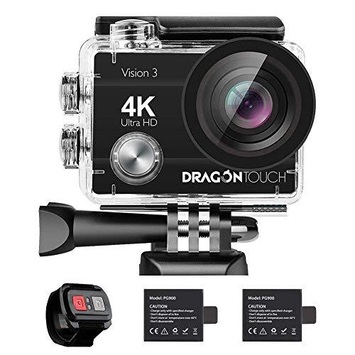 Dragon Touch 4K 16MP WiFi Action Cam,Sport Cam Sommergibile Impermeabile 30m Caricabatterie con 2 Batterie Telecomando 170° Grandangolare e Kit di Accessori (Modello Vision3)