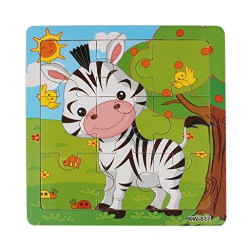 SamMoSon Puzzle Giocattoli di Legno Zebra Jigsaw Toys per I Bambini Istruzione E Apprendimento