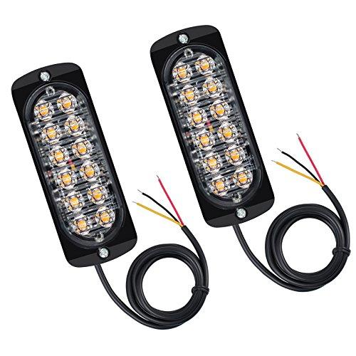 Justech 2 x 12 LED Luci Ambra Arancione Anteriore Ripartizione Beacon Light bar 12V 24V Universale...
