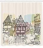 Ambesonne Deutscher Duschvorhang Historische Traditionsszene Nürnberg Deutschland Klassische Holzhäuser Illustration, Stoffstoff Badezimmer Dekor Set mit Haken, 84 Zoll extra lang, Mehrfarbig