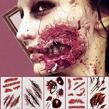 Kesote 16 Feuilles Autocollant Tatouage Halloween Cicatrices Avec Fausse Gale Tatouage de 8 Modèles
