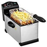 VonShef Deep Fat Fryer, 3 Litre with Adjustable Temperature Control, Observation Window and Removable Basket for Easy Clean - Stainless Steel