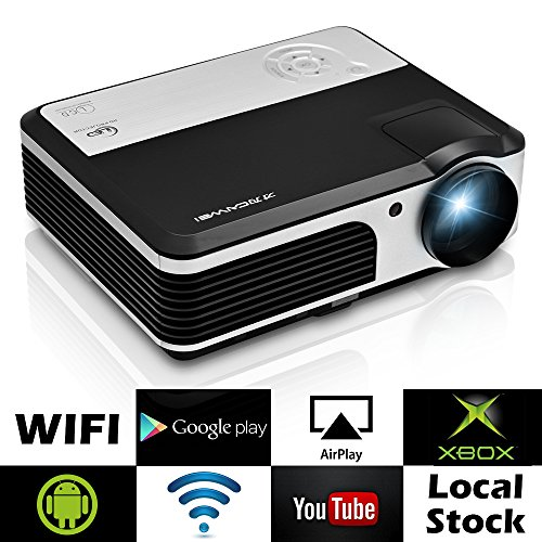 caiwei LED Android Wireless Projector with DVB-T2 HDMI TV Tuner Built-in Wi-Fi Home Cinema Theatre...