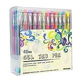 Ariel-gxr stylos gel - Lot de 48 Billes à Encre Gel Multicolore (avec Couleur Métallique Glitter Néon WaterChalk) pour Ecrire et Dessiner