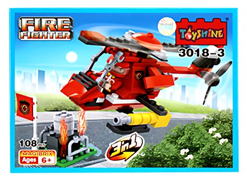 Toyshine Firefighter and Rescue Blocks Set, ABS Plastic Construction Toy, Starter Kit - (3018-3)