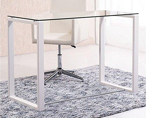 Mesa de estudio benetto, cristal transparente y patas blancas, medidas 100 x 50 x 75 cm de altura
