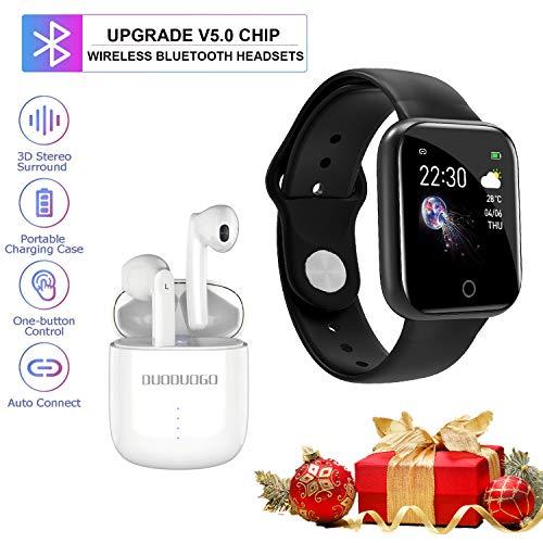 Smartwatch Offerta Del Giorno, IP68 Impermeabile DUODUOGO K8 Bluetooth Smartwatch per uomo Donna Bambini Compatibile Android iOS, Tracker Attività Fitness Con Cardiofrequenzimetro (K8-Nero)