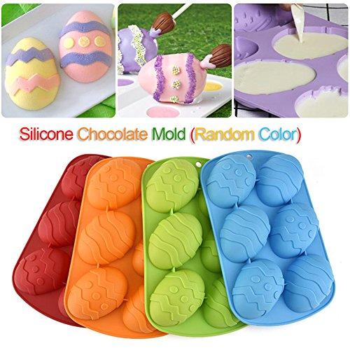 Stampo per uova di Pasqua di cioccolato, in silicone, 6 posti, colore casuale