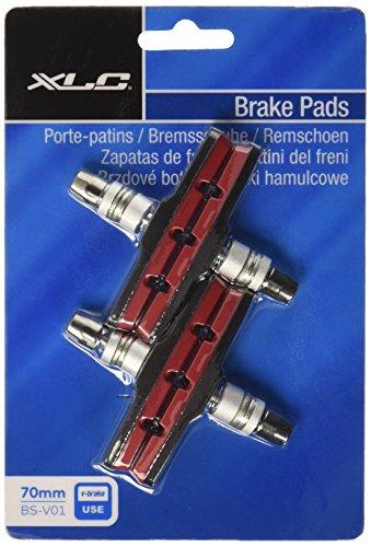 XLC Unisex– Erwachsene Bremsschuhe V-Brake BS-V01 4er Set 70 mm Rot, Schwarz One Size