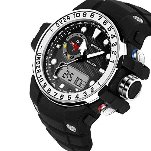 DFIHCD Männer Frauen-Uhr-im Freiensport-Multifunktionsuhr-wasserdichte Sport-elektronische Uhren 50 Meter Wasserdicht,White