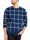 Maniac Men's Fullsleeve Checked Navy Cotton T-Shirt (Navy Blue, Medium)