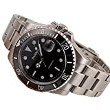 40mm Sapphire Glass Black Dial Luminous Stainless Steel Band Men's Automatic Wrist Watch