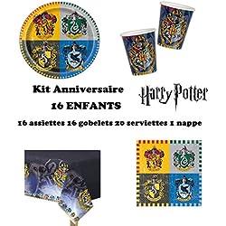 Uni que Set cumpleano Harry Potter Decoración Cumpleaños 16 Niños (16 Platos, 16 Tazas, 20 servilletas,1 Mantel) Fiesta para 16 Niños