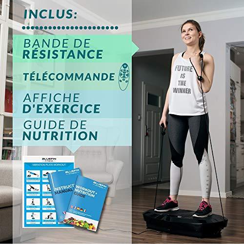 Plateforme Vibrante & Oscillante Bluefin Fitness à Doubles Moteurs 3D | Oscillation, Vibration + Mouvement 3D | Grande Surface Anti-Dérapante | Haut-parleurs Bluetooth | Design Anglais