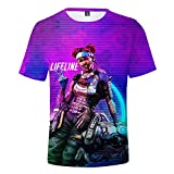 COKIMONL Apex Legends Estive Girocollo Puro Colore Stampa Manica Corta per Uomini e Donne T-Shirt Top