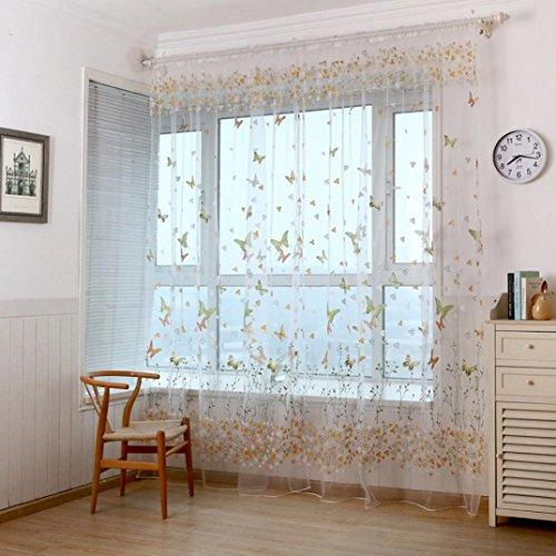 Ouneed 1PC Ventana de las pantallas de mariposa puerta balcón cortina (Verde)