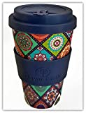 EXOTICA by Happy Earth (Reusable Eco-Friendly Coffee Cup 450ml, Made with Organic Natural Bamboo Fibre, can be used as a travel mug or home coffee mug)