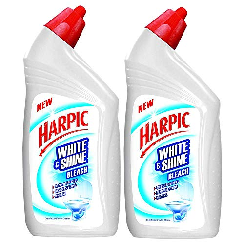 Harpic 'White & Shine Bleach' Disinfectant Toilet Cleaner, Regular - 500 ml (Pack of 2)