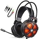 EasySMX Gaming Headset, COOL 2000 komfortable LED Over-Ear Stereo Gaming Kopfhörer mit Mikrofon und Lautstärkeregler, für PC/Mac/Neue Slim Xbox One / PS4 / Smartphone [2019 Edition]