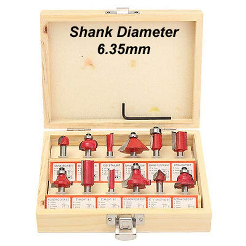 ISC 6.35mm Router Bit Set 12 Pcs Multi Shape for Router/Trimmer Combo with Wooden Box Specially Designed for Wood Working