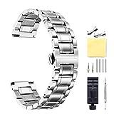 Cinturino Per Orologio In Acciaio Inossidabile,Bracciale In Metallo Con Estremità Diritte E Curve   Argento 22mm