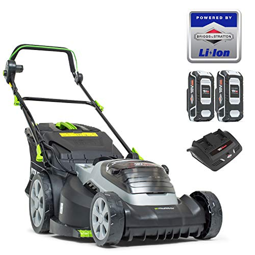 The Murray 883266 Lithium-Ion 44cm Lawn Mower is specifically made for large gardens up to 640sq.m which usually have to be mowed with petrol mowers which makes this a great cleaner, low maintenance alternative