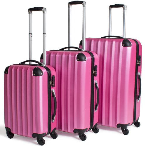 TecTake Trolley valigia valigie set rigido borsa 3 pz. - disponibile in diversi colori - (Rosa)