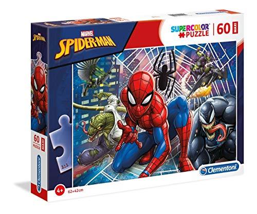 Clementoni- Supercolor Puzzle-Spider Man-60 Pezzi Maxi, Multicolore, 26444