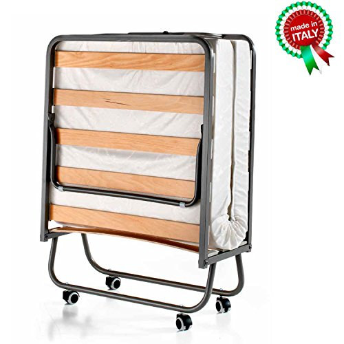 Goldflex - Brandina Pieghevole MOD. Emergency Bed a doghe in Legno Ortopedica con Ruote Compresa di...