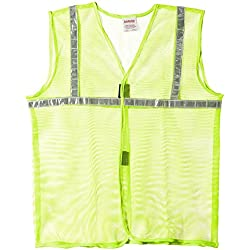 "Aarvee Safety Jacket 1"" Reflective Tape Green Net 50 gsm (Pack of 1)"