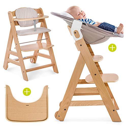 Hauck Beta Plus Newborn - Seggiolone Pappa evolutivo 0 mesi/Con Sdraietta neonato, Riduttore, Cuscino seduta, Vassoio - Altezza regolabile, Legno Chiaro Naturale/Beige