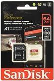 SanDisk - SDSQXAF-064G-GN6MA -  Carte mémoire microSDXC Extreme 64 Go + adaptateur SD jusqu'à 100 Mo / s, Or / Rouge - A1 - Classe 10, U3, V30