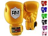 RingMasterUK niños guantes de boxeo de sparring de boxeo de cuero saco de boxeo Mitt, Infantil, dorado