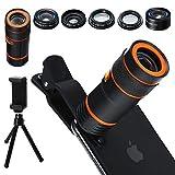 Distianert Handy Kamera Lens Kit, 6 in 1 Universal 12x Zoom Teleobjektiv 0,62x Weitwinkel&20x Makro 235 ° Fisheye Starburst Objektiv CPL Stativ für iPhone X/8/7/6/6S Plus Samsung Android und Telefon