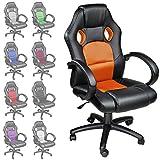 TecTake Poltrona Sedia direzionale da ufficio Racer classe di lusso - disponible en diferentes colores (Arancione)
