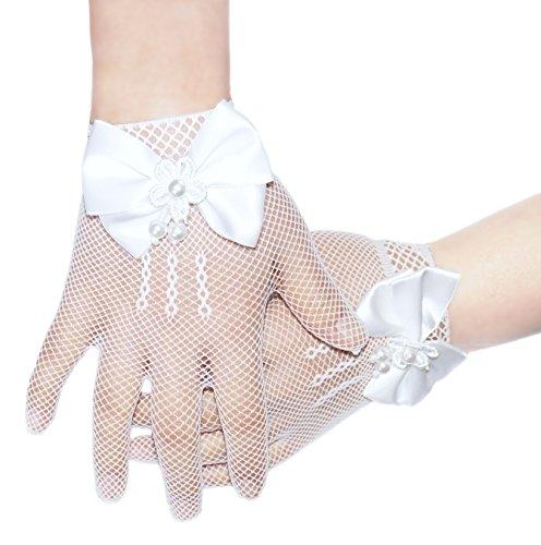 4-14 anni fiore ragazze guanti (bianco)