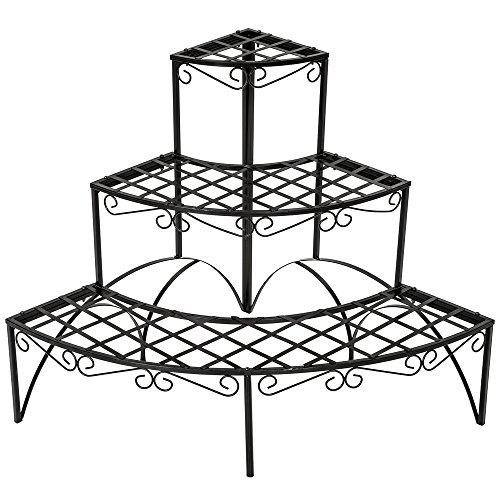 TecTake Pflanzentreppe Blumenbank 3 Stufen - belastbar bis 30 kg - ca. 60x60x60cm - Diverse Modelle (Stufen rund | Nummer 401712)