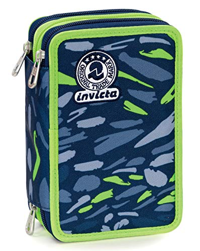 Astuccio 3 Zip Invicta Art, Blu, Con materiale scolastico: 18 pennarelli Giotto Turbo Color, 18...