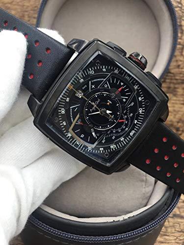 AGEGIERA Luxury Silver Quadrato Nero Acciaio Inossidabile Orologi da Uomo Cronografo al Quarzo cronografo Zaffiro Sportivo Orologio in Pelle AAA +3
