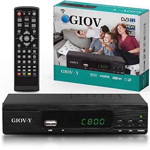 Giov Y Decoder Digitale Terrestre DVB T2 / HDMI / Decoder DVB T2 HEVC, Full HD Ricevitore TV...