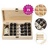 25 Slots Olio Essenziale Box in legno, interno Custodia di legno naturale rimovibile, supporto di visualizzazione Tenere 5 15ml, bottiglie e bottiglie a bottone da 30ml / 100ml, olio essenziale perfet